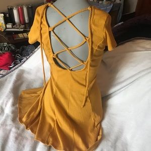 Lace back yellow dress